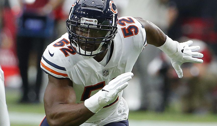 FILE - In this Sept. 23, 2018, file photo, Chicago Bears linebacker Khalil Mack (52) rushes during the first half during an NFL football game against the Arizona Cardinals in Glendale, Ariz. The Bears have a rare opportunity to beat the Detroit Lions and pick up a victory over an NFC North opponent when the two teams meet at Soldier Field on Sunday (AP Photo/Rick Scuteri, File)