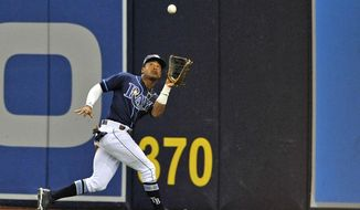 FILE - In this Sept. 29, 2018, file photo, Tampa Bay Rays center fielder Mallex Smith makes a running catch on a fly ball hit by Toronto Blue Jays' Jon Berti during the fifth inning of a baseball game in St. Petersburg, Fla. Speedy outfielder and leadoff hitter Mallex Smith has been acquired by the Seattle Mariners from the Tampa Bay Rays for catcher Mike Zunino and outfielder Guillermo Heredia as part of a five-player deal. (AP Photo/Steve Nesius, File)