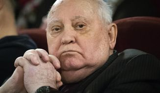 Former Soviet leader Mikhail Gorbachev attends the Moscow premier of a film made by Werner Herzog and British filmmaker Andre Singer based on their conversations, in Moscow, Russia, Thursday, Nov. 8, 2018. Gorbachev told reporters that urgent efforts must be taken to prevent a new arms race. (AP Photo/Alexander Zemlianichenko)