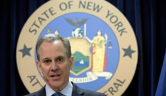 "FILE - In this Feb. 11, 2016, file photo, New York Attorney General Eric T. Schneiderman speaks during a news conference in New York. The prosecutor appointed to investigate allegations that former New York Attorney General Schneiderman physically abused women says she has closed the case without bringing criminal charges, Thursday, Nov. 8, 2018. Schneiderman said in a statement he didn't consider the decision an exoneration. He also apologized ""for any and all pain that I have caused."" (AP Photo/Mary Altaffer, File)"