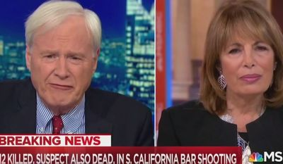 MSNBC's Chris Matthews discusses the Thousand Oaks, California, mass shooting with Democratic Rep. Jackie Speier, Nov. 8, 2018. (Image: MSNBC screenshot)