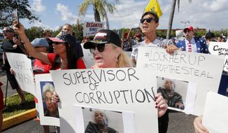 A crowd protests outside the Broward County Supervisor of Elections office Friday, Nov. 9, 2018, in Lauderhill, Fla. A possible recount looms in a tight Florida governor, Senate and agriculture commission race.  (AP Photo/Joe Skipper)