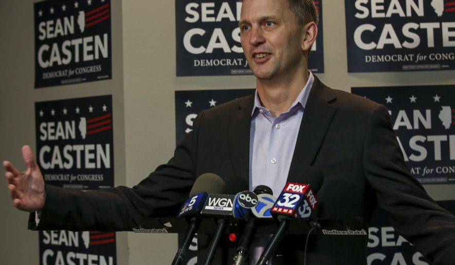 FILE - In this Nov. 7, 2018 file photo, Illinois Sixth Congressional District winner Sean Casten takes questions at a press  conference in Downers Grove, Ill., about his win in the Nov. 6, 2018 general election. Illinois Democrats did what was once unthinkable when they flipped two suburban Chicago congressional districts that had been held by Republicans pretty much since World War II. Casten defeated six-term Republican Rep. Peter Roskam  by more than five percentage points. (Bev Horne/Daily Herald via AP)/Daily Herald via AP)