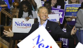 In this Oct. 23, 2018, file photo shows Sen. Bill Nelson campaigns in Orlando. (Joe Burbank/Orlando Sentinel via AP, File)