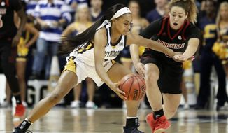 Chattanooga guard Mya Long (3) protects the ball against Louisville's Mykasa Robinson (5) in the second half of an NCAA college basketball game Friday, Nov. 9, 2018, in Chattanooga, Tenn. Louisville won 75-49. (AP Photo/Mark Humphrey)