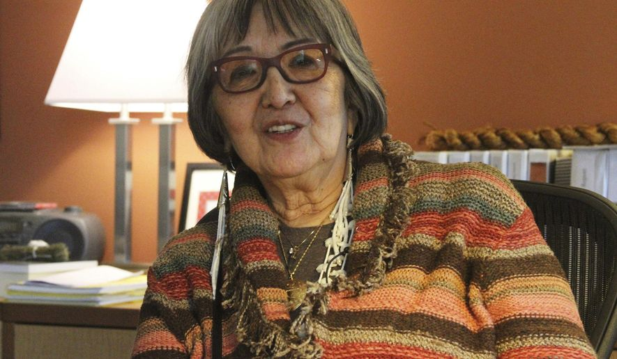 FILE - This Jan. 18, 2018, file photo shows Sealaska Heritage Institute President Rosita Worl at her office in Juneau, Alaska. Worl said Friday, Nov. 9, that an upcoming summit with the last remaining speakers of three indigenous languages of southeast Alaska is among multiple language revitalization efforts by her organization. (AP Photo/Mark Thiessen, file)