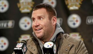 Pittsburgh Steelers quarterback Ben Roethlisberger takes questions during a news conference after the team's NFL football game against the Carolina Panthers, Thursday, Nov. 8, 2018, in Pittsburgh. (AP Photo/Keith Srakocic)