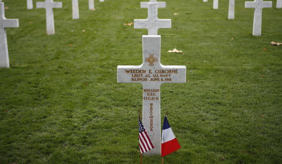 A soldier grave is pictured after a ceremony at the Aisne Marne American Cemetery near the Belleau Wood battleground, in Belleau, France, Saturday, Nov. 10, 2018. Belleau Wood, 90 kilometers (55 miles) northeast of the capital, Iis the place where U.S. troops had their breakthrough battle by stopping a German push for Paris shortly after entering the war in 1917. (AP Photo/Francois Mori) ** FILE **