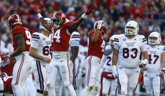 Alabama defensive back Deionte Thompson (14) celebrates after Mississippi State place kicker Jace Christmann (47) missed a field goal-attempt during the first half of an NCAA college football game, Saturday, Nov. 10, 2018, in Tuscaloosa, Ala. (AP Photo/Butch Dill)
