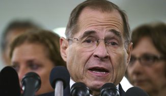 Then-House Judiciary Committee ranking member Jerry Nadler, D-N.Y., talks to media during a Senate Judiciary Committee hearing on Capitol Hill in Washington, Friday, Sept. 28, 2018. (AP Photo/Carolyn Kaster) ** FILE **
