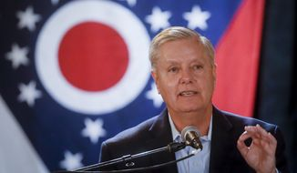 Sen. Lindsey Graham, R-S.C., speaks during a campaign event for Ohio Attorney General and Republican gubernatorial candidate Mike DeWine, Tuesday, Oct. 30, 2018, in downtown Cincinnati. (AP Photo/John Minchillo)