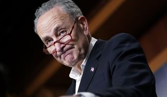 Senate Minority Leader Chuck Schumer of N.Y., pauses while speaking to members of the media at the Capitol in Washington, Wednesday, Nov. 7, 2018. (AP Photo/Pablo Martinez Monsivais)