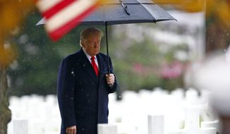 President Trump weathered an imperious lecture from French Present Emmanuel Macron, suffered widespread criticism for canceling a visit to a war cemetery and dodged anti-Trump demonstrations during weekend in France marking the 100th anniversary of the end of World War I. (Associated Press)