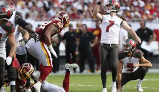 Tampa Bay Buccaneers kicker Chandler Catanzaro (7) misses a field goal against the Washington Redskins during the first half of an NFL football game Sunday, Nov. 11, 2018, in Tampa, Fla. (AP Photo/Mark LoMoglio)