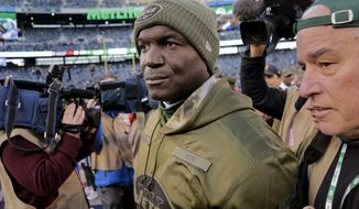 CORRECTS ID TO TODD BOWLES NOT SEAN MCDERMOTT Buffalo Bills head coach Todd Bowles walks off the field after an NFL football game against the Buffalo Bills, Sunday, Nov. 11, 2018, in East Rutherford, N.J. The Bills won 41-10. (AP Photo/Seth Wenig)