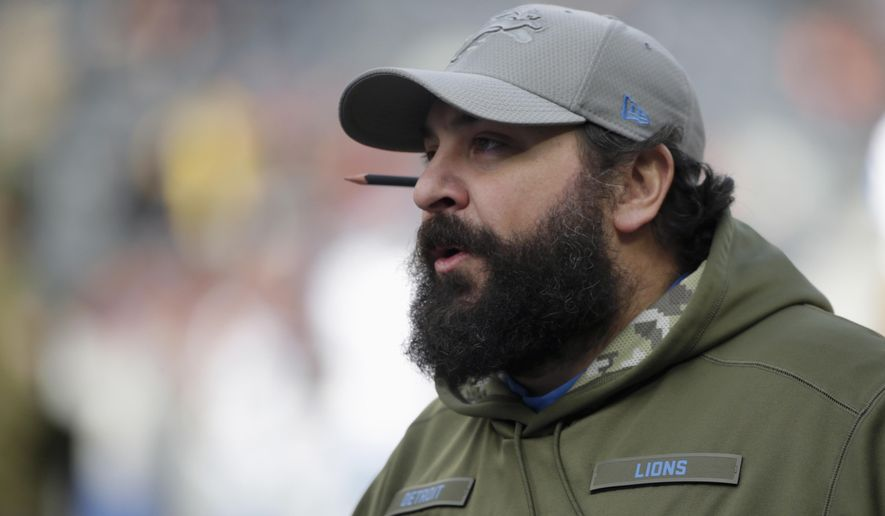 Detroit Lions head coach Matt Patricia watches his team during warmups before an NFL football game against the Chicago Bears Sunday, Nov. 11, 2018, in Chicago. (AP Photo/David Banks)