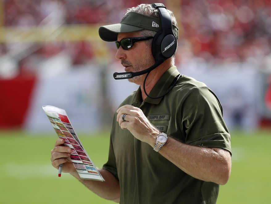 Tampa Bay Buccaneers head coach Dirk Koetter calls in a play against the Washington Redskins during the first half of an NFL football game Sunday, Nov. 11, 2018, in Tampa, Fla. (AP Photo/Mark LoMoglio)