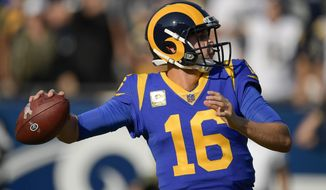 Los Angeles Rams quarterback Jared Goff passes against the Seattle Seahawks during the first half in an NFL football game Sunday, Nov. 11, 2018, in Los Angeles. (AP Photo/Mark J. Terrill)