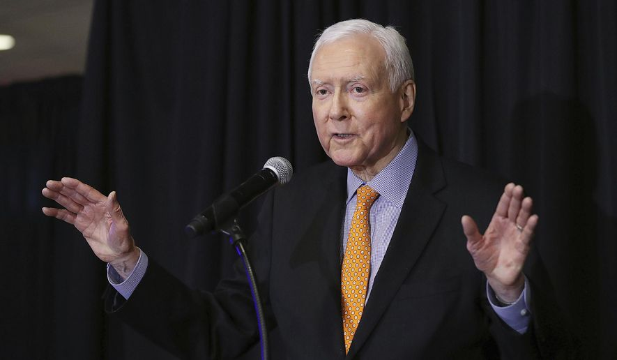 In this Nov. 6, 2018 file photo, U.S. Sen. Orrin Hatch, R-Utah gestures as he speaks during the UTGOP election night party in Salt Lake City. (Ravell Call/The Deseret News via AP)