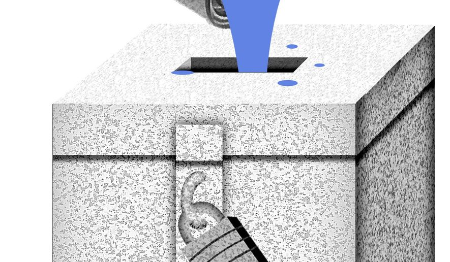 Illustration on vote fraud in Florida by Alexander Hunter/The Washington Times