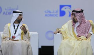 UAE Energy Minister Suhail al-Mazrouei, left, talks to Khalid Al-Falih, Saudi Energy and Oil Minister, in the opening ceremony of the Abu Dhabi International Exhibition & Conference, ADIPEC, in Abu Dhabi, United Arab Emirates, Monday, Nov. 12, 2018. OPEC and allied oil-producing countries likely need to cut crude supplies to rebalance the market after proposed U.S. sanctions on Iran failed to cut Tehran's ouput, top Saudi and Emirati energy officials said Monday. (AP Photo/Kamran Jebreili)