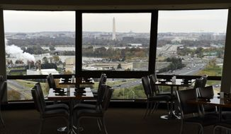 This Friday, Nov. 9, 2018, photo shows a view of Washington from a revolving restaurant in Crystal City, Va. If any place in the U.S. is well positioned to absorb 25,000 Amazon jobs, it may well be Crystal City which has lost nearly that many jobs over the last 15 years. (AP Photo/Susan Walsh)