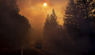 A vehicle drives through smoke from a wildfire near Pulga, Calif., Sunday, Nov. 11, 2018. (AP Photo/Noah Berger, File)