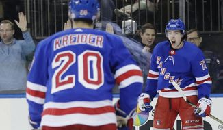 New York Rangers' Filip Chytil, right, celebrates after scoring a goal as teammate Chris Kreider (20) skates toward him during the second period of an NHL hockey game against the Vancouver Canucks Monday, Nov. 12, 2018, in New York. (AP Photo/Frank Franklin II)