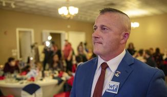 Richard Ojeda, Democratic candidate for West Virginia's 3rd Congressional District, watches election results during his campaign's watch party at Special Occasions in Yuma, near Logan, W.Va., Tuesday, Nov. 6, 2018. (Dylan Vidovich/The Logan Banner via AP)