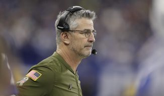 Indianapolis Colts head coach Frank Reich watches from the sideline during the second half of an NFL football game against the Jacksonville Jaguars in Indianapolis, Sunday, Nov. 11, 2018. (AP Photo/Darron Cummings)
