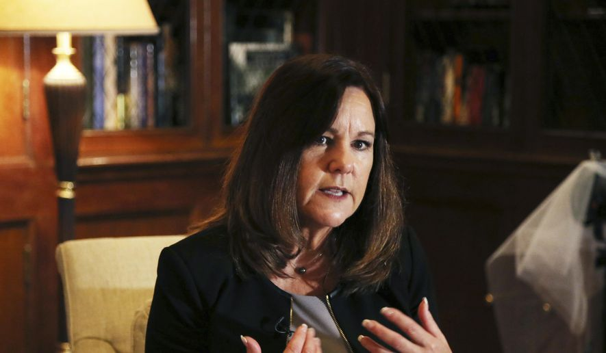 Second lady of the United States Karen Pence speaks during an interview with the Associated Press at the residence of U.S ambassador to Japan in Tokyo, Tuesday, Nov. 13, 2018. (AP Photo/Koji Sasahara)