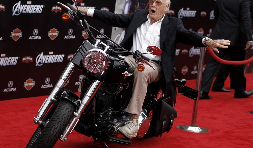"FILE - In this April 11, 2012, file photo,Stan Lee arrives at the premiere of ""The Avengers"" in Los Angeles. Comic book genius Lee, the architect of the contemporary comic book, has died. He was 95. The creative dynamo who revolutionized the comics by introducing human frailties in superheroes such as Spider-Man, The Fantastic Four and The Incredible Hulk, was declared dead Monday, Nov. 12, 2018, at Cedars-Sinai Medical Center in Los Angeles, according to Kirk Schenck, an attorney for Lee's daughter, J.C. Lee. (AP Photo/Matt Sayles, File)"