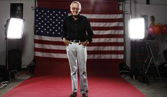 FILE - In this  July 21, 2011, file photo, Stan Lee poses for a portrait at the LMT Music Lodge during Comic Con in San Diego. Comic book genius Lee, the architect of the contemporary comic book, has died. He was 95. (AP Photo/Matt Sayles, File)