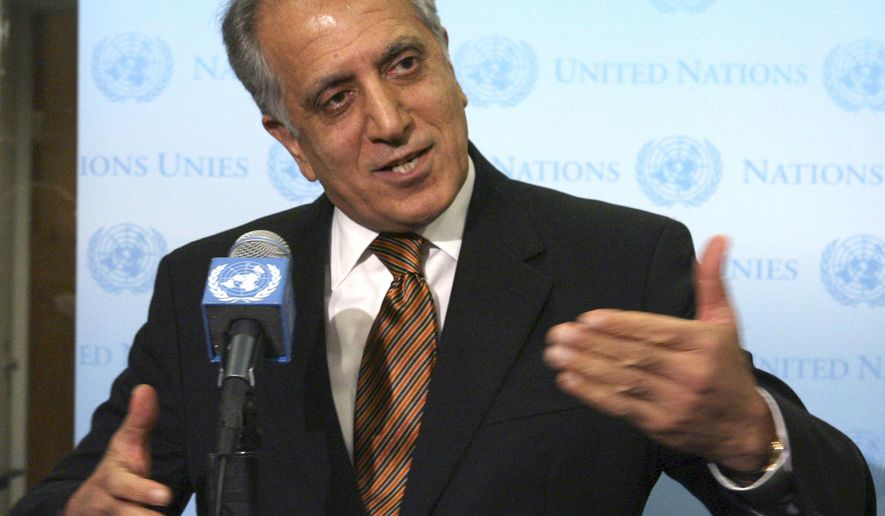 FILE - In this Jan. 5, 2009 file photo, then-U.S. Ambassador to the U.N. Zalmay Khalilzad, speaks to reporters at the United Nations headquarters. Taliban officials said Monday, Nov. 12, 2018 that Pakistan has released Abdul Samad Sani, a U.S.-designated terrorist who served as the Afghan Central Bank governor during the militants' rule, along with a lower-ranking commander named Salahuddin. It came as U.S. envoy Zalmay Khalilzad launched a second tour of the region, with stops in Pakistan, Afghanistan, the United Arab Emirates as well as Qatar, where the Taliban maintain a political office. (AP Photo/Mary Altaffer, File)