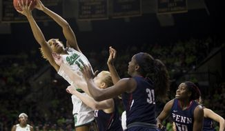 Notre Dame's Brianna Turner (11) grabs a rebound over Pennsylvania's Ashley Russell, center, and Eleah Parker (31) during the first half of an NCAA college basketball game Monday, Nov. 12, 2018, in South Bend, Ind. (AP Photo/Robert Franklin)