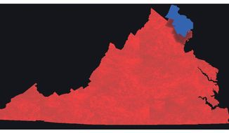 Illustration on three northern counties' political dominance of the rest of Virginia by Alexander Hunter/The Washington Times