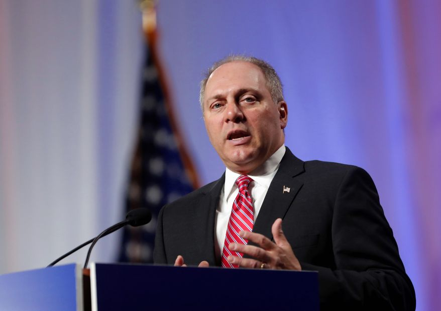 In a Monday, June 18, 2018, file photo, then-House Majority Whip Steve Scalise, R-La., speaks at the National Sheriffs' Association convention in New Orleans. (AP Photo/Gerald Herbert, File)