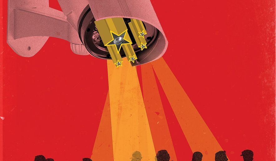Illustration on Communist China's increased surveillance levels by Linas Garsys/The Washington Times