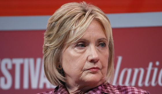Former Secretary of State Hillary Clinton listens to question from Jeffrey Goldberg, editor in chief of The Atlantic, during The Atlantic Festival, Tuesday, Oct. 2, 2018, in Washington. (AP Photo/Alex Brandon) ** FILE **