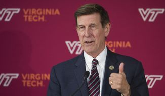 Rep. Don Beyer, D-Va., speaks at the Virginia Tech announcement of a 1 million-square-foot, technology-focused campus in Alexandria, Va., to build one of it's two new headquarters, Tuesday, Nov. 13, 2018. (AP Photo/Cliff Owen) ** FILE **