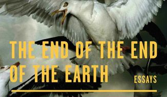 """This cover image released by Farrar, Straus and Giroux shows """"The End of the End of the Earth,"""" essays by Jonathan Franzen. (Farrar, Straus and Giroux via AP)"""