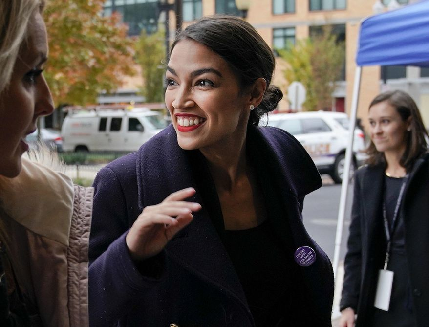 Rep.-elect Alexandria Ocasio-Cortez, D-N.Y., arrives for orientation for new members of Congress, Tuesday, Nov. 13, 2018, in Washington. (AP Photo/Pablo Martinez Monsivais) ** FILE **
