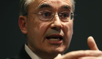 U.S. Rep. Bruce Poliquin, R-Maine, speaks at a news conference, Tuesday, Nov. 13, 2018, in Augusta, Maine. Poliquin filed a federal lawsuit Tuesday against Maine Secretary of State Matthew Dunlap in an attempt to stop a tabulation of ranked-choice ballots in his race against Democratic challenger Jared Golden. (AP Photo/Robert F. Bukaty)