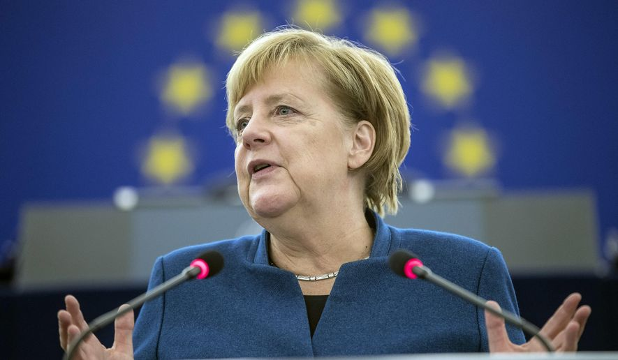 German Chancellor Angela Merkel debates the future of Europe with the members of the European Parliament, in Strasbourg, eastern France, Tuesday, Nov.13, 2018. (AP Photo/Jean-Francois Badias)