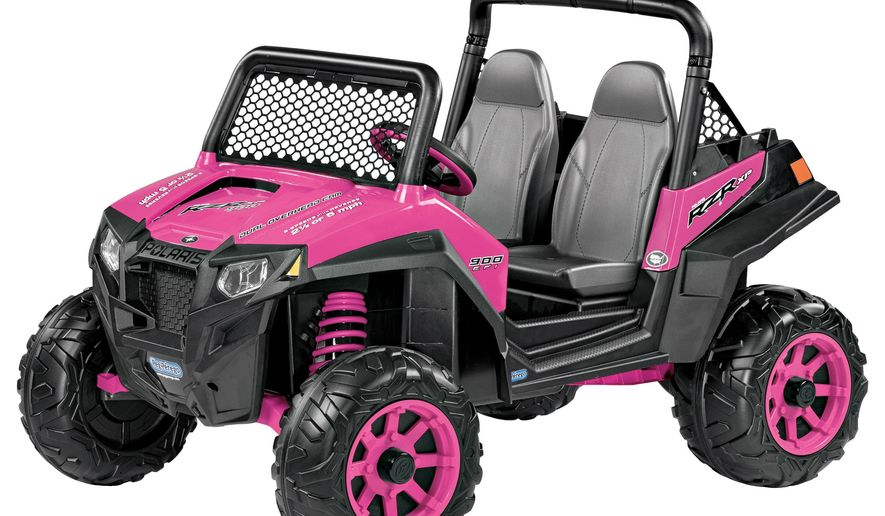 This image released by Target shows a pink Peg Perego Polaris RZR 900 ride on toy which retails for $349.99. (Target via AP)