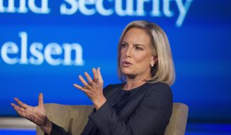 In this Sept. 5, 2018, file photo, Secretary of Homeland Security Kirstjen Nielsen speaks to George Washington University's Center for Cyber and Homeland Security, in Washington. (AP Photo/Cliff Owen)