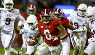 Alabama running back Josh Jacobs (8) carries the ball during the second half of an NCAA college football game against Mississippi State, Saturday, Nov. 10, 2018, in Tuscaloosa, Ala. (AP Photo/Butch Dill) **FILE**