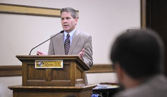 Montana Secretary of State Corey Stapleton testifies Tuesday, Nov. 13, 2018, before the State Administration and Veteran Affairs Committee at the State Capitol in Helena. Stapleton is scheduled to testify before a legislative committee about two contracts his office awarded to a former Republican Party chairman and his wife. (Thom Bridge/Independent Record via AP)