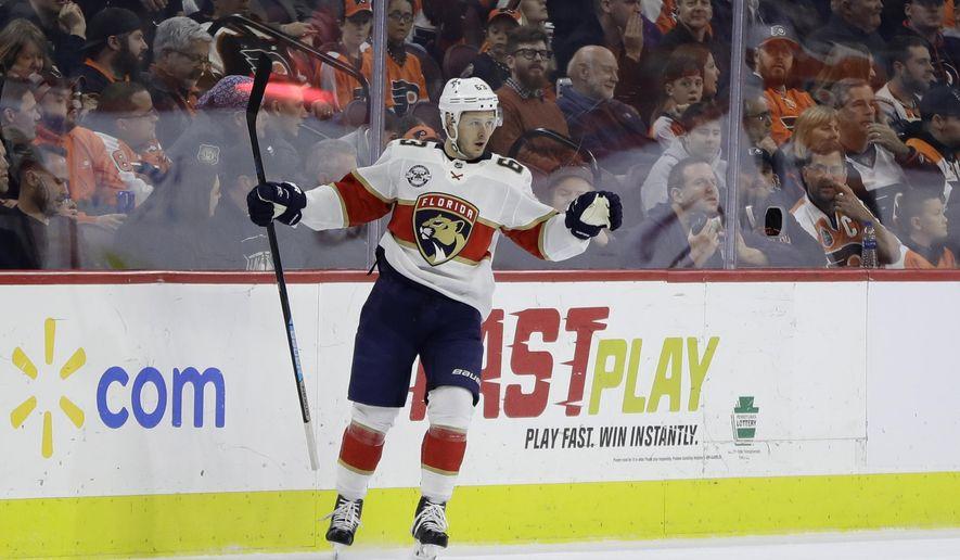 Florida Panthers' Evgenii Dadonov celebrates after scoring a goal during the second period of an NHL hockey game against the Philadelphia Flyers, Tuesday, Nov. 13, 2018, in Philadelphia. (AP Photo/Matt Slocum)