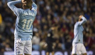 RC Celta's Iago Aspas reacts during a Spanish La Liga soccer match between RC Celta and Real Madrid at the Balaidos stadium in Vigo, Spain, Sunday, Nov. 11, 2018. (AP Photo/Lalo R. Villar)